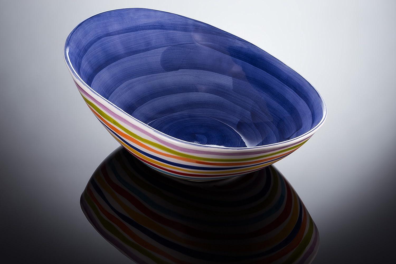 Bassano Ausgefallene italienische Keramik groß e ovale Schale mit Streifen L blau 40x27 Keramikpool