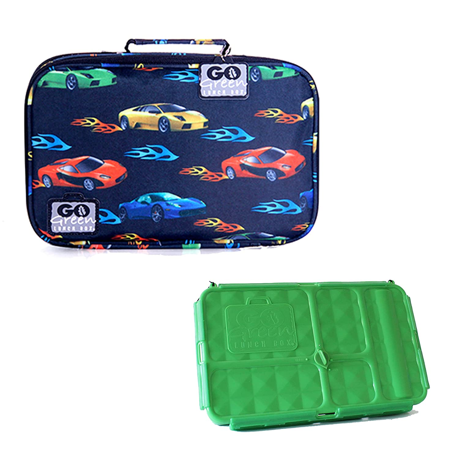 [ゴーグリーン]Go Green Lunch Box Set • 5 Compartment LeakProof Lunch Box • Insulated Carrying Bag • Beverage Bottle • [並行輸入品] B00M9WL6I2 Fast Flames Fast Flames