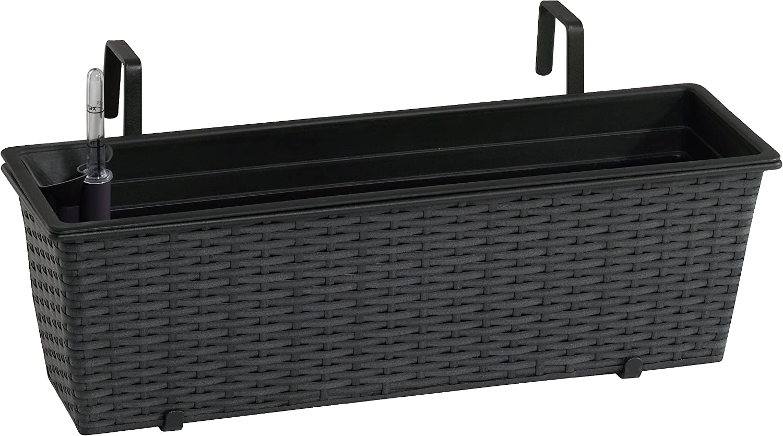 Jardinera para balcón de polyrattan Incluye suspensión y 3 Insertos plásticos, Color Antracita, 50 x 19 x 18 cm