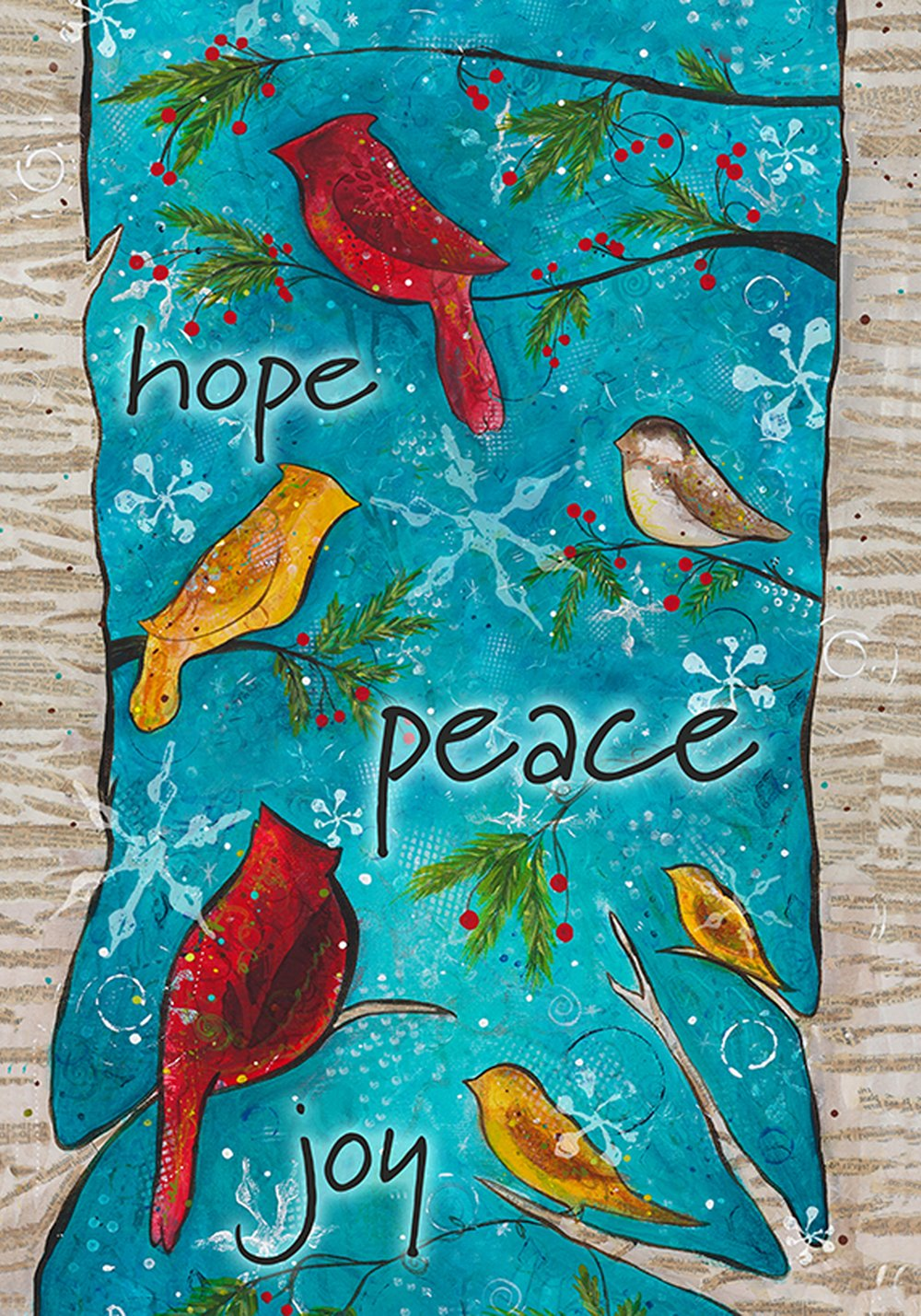 Toland Home Garden Peace Birds 12.5 x 18 Inch Decorative Winter Holiday Bird Joy Hope Garden Flag