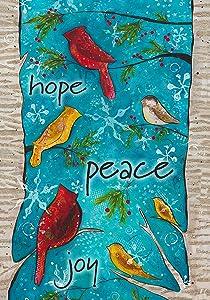 Toland Home Garden Peace Birds 12.5 x 18 Inch Decorative Winter Holiday Bird Joy Hope Garden Flag