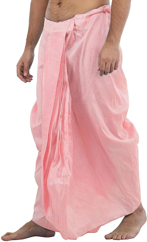 Maenner-Dhoti-Dupion-Silk-Plain-handgefertigt-fuer-Pooja-Casual-Hochzeit-Wear Indexbild 60