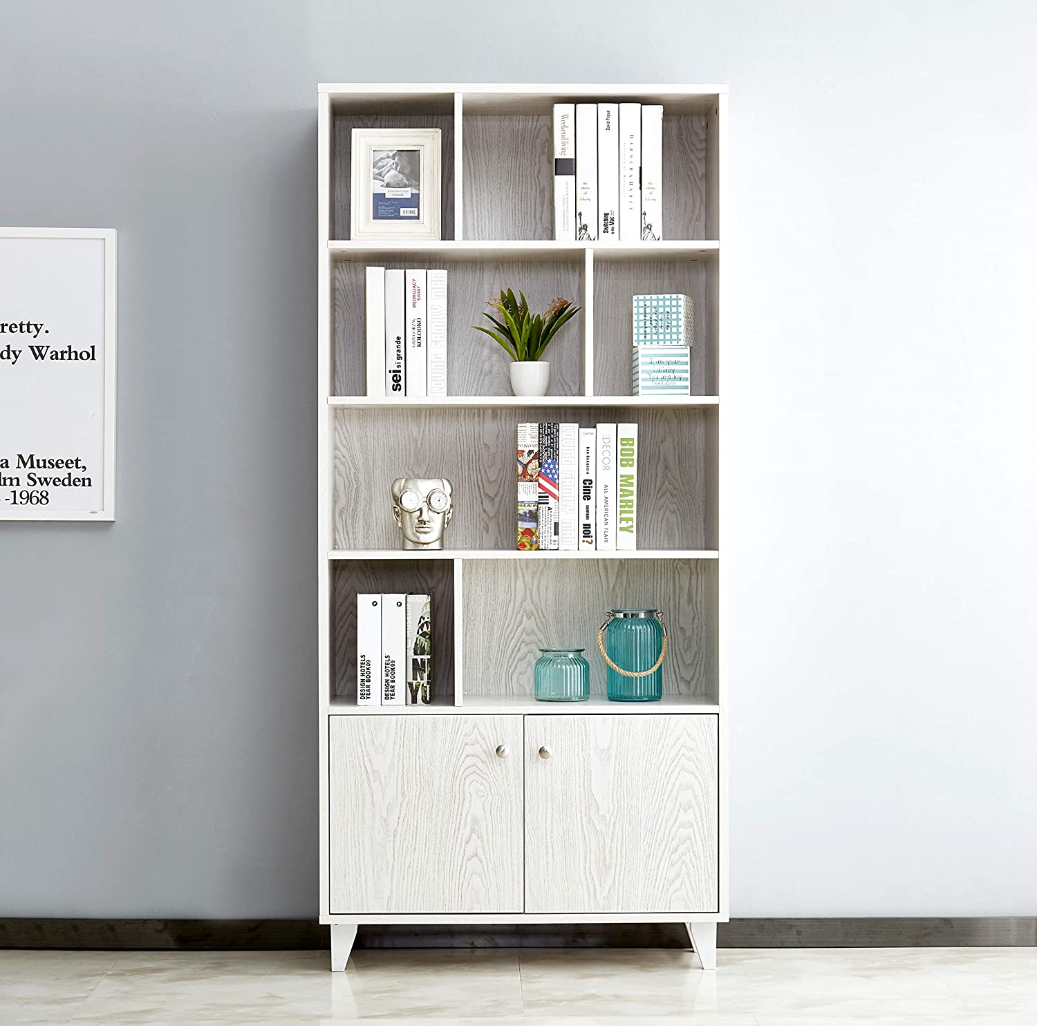 Mixcept Modern Bookcase with 2 Doors 68