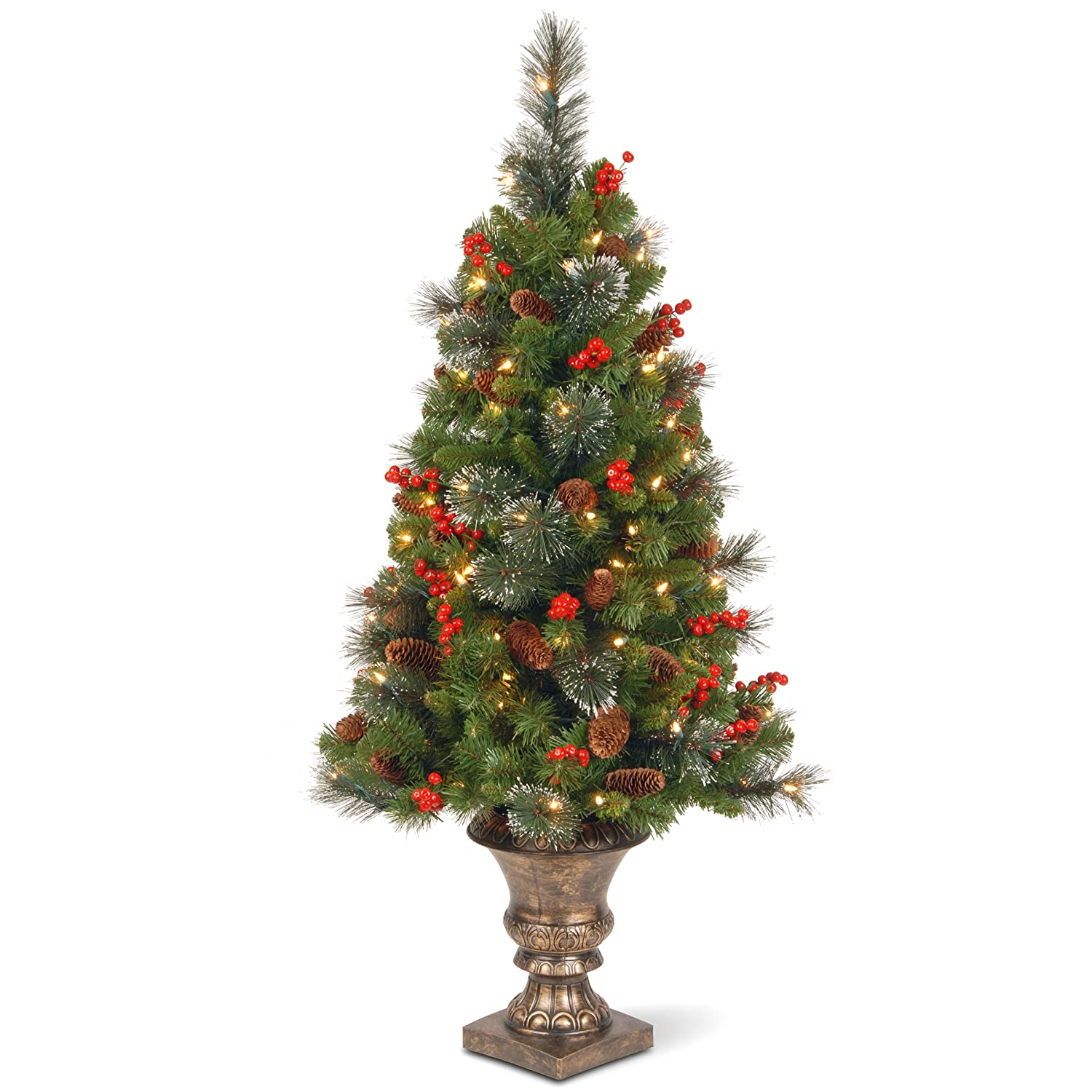 National Tree 4 Foot Crestwood Spruce Entrance Tree with Cones, Glitter, Red Berries, Silver Bristle and 100 Clear Lights in Decorative Urn (CW7-306-40)