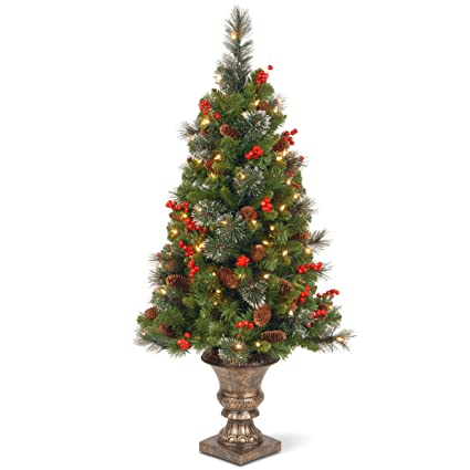 national tree 4 foot crestwood spruce entrance tree with cones glitter red berries - Red And Silver Christmas Tree