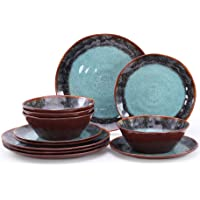 Gufaith Melamine Dinnerware sets for 4,12 Piece plates and bowls Suitable for Indoor and Outdoor Use, Dishwasher Safe…