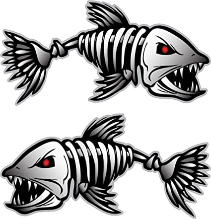 1 Pair Skeleton Fish Bone Cool Decals for Boat Fishing Car Graphics Stickers
