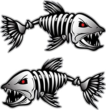 Amazoncom   Digital Skeleton Fish Vinyl Decals For Boat - Vinyl stickers for boats
