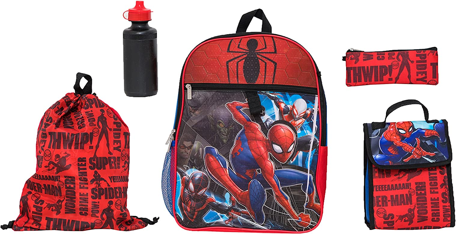 Marvel Boys' Spiderman 5 Pc Set Backpack, Blue, One Size