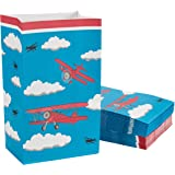 Airplane Party Bags - 36-Pack Plane Birthday Party Supplies, Small Party Favor Gift Bags for Kids, Flying Airplane Design, 5.1 x 8.7 x 3.2 Inches