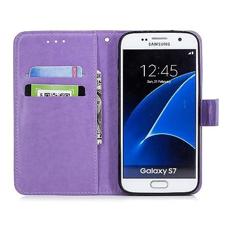 Ukayfe Compatible con Samsung Galaxy S7, [Funda Flores y Diamante] Cuero PU Brillando Carcasa y Cubierta Interior Delgada TPU, Brillo Case con Soporte ...