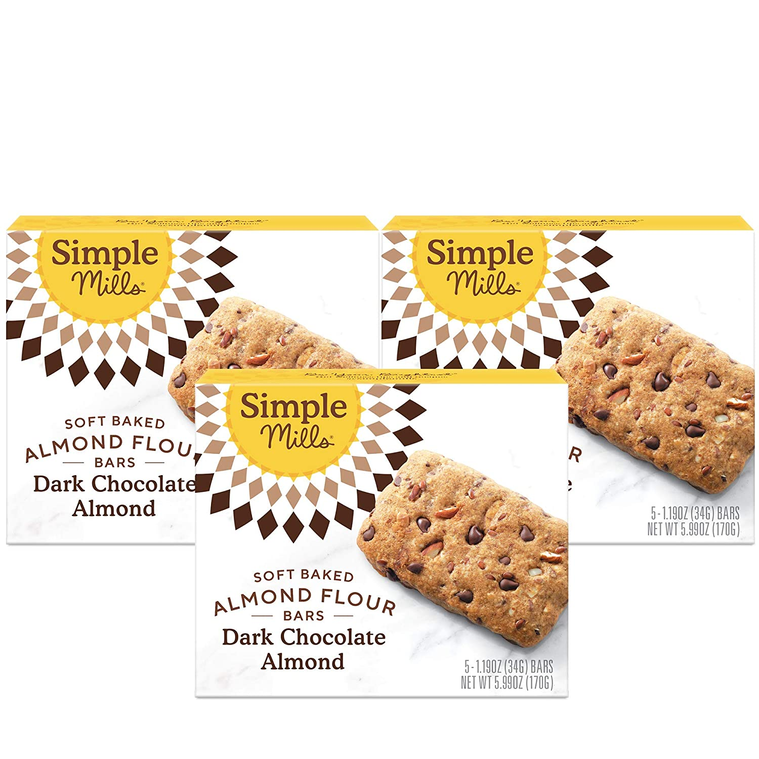 Simple Mills Almond Flour Snack Bars (Dark Chocolate Almond), Organic Coconut Oil, Chia Seeds, Sunflower Seeds, Flax Seeds, Breakfast Bars, Good for Snacks, 3 Count (Packaging May Vary)