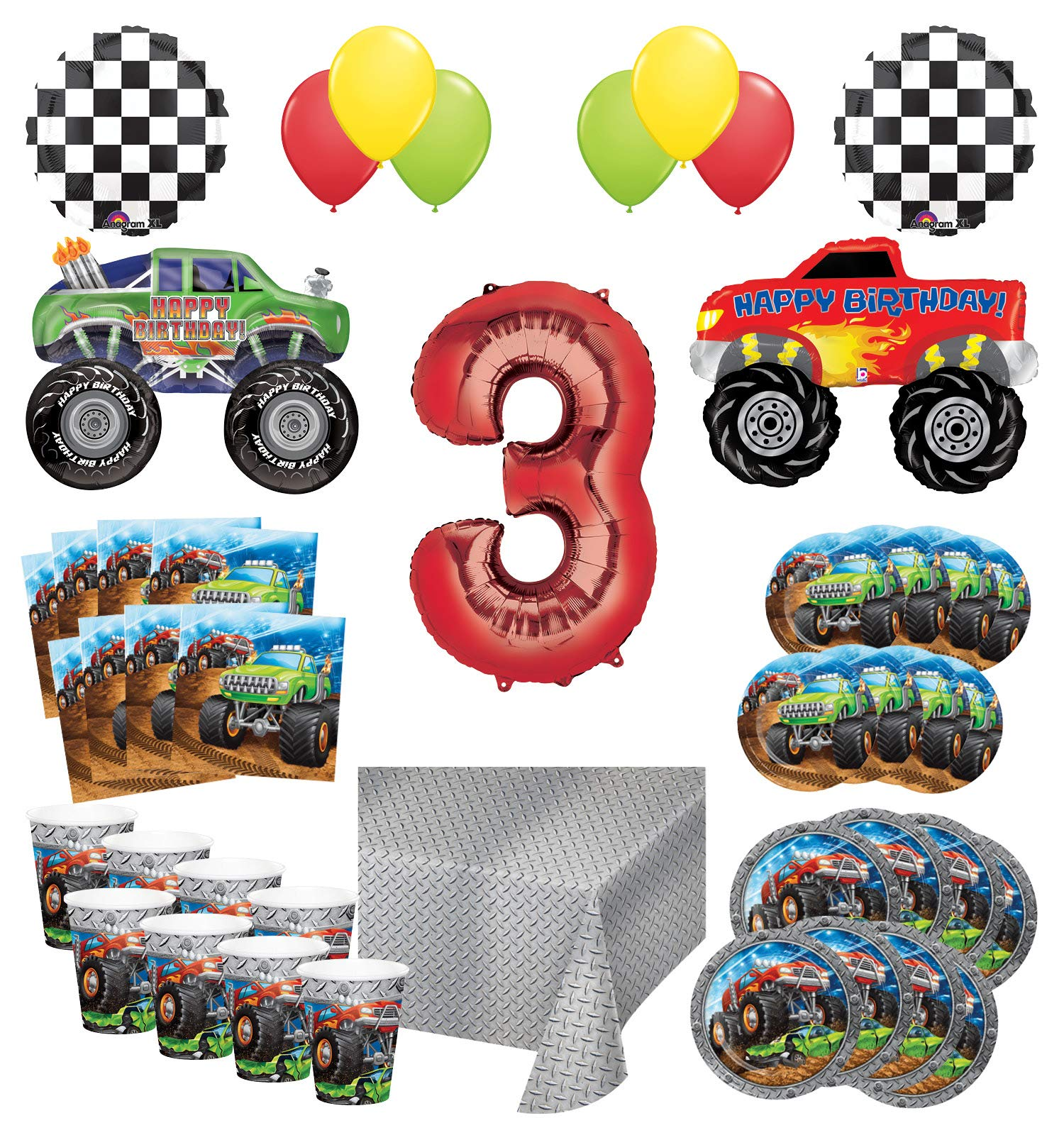 Mayflower Products Monster Truck Rally 3rd Birthday Party Supplies 16 Guest Decoration Kit with Green and Red Monster Truck Balloon Bouquet