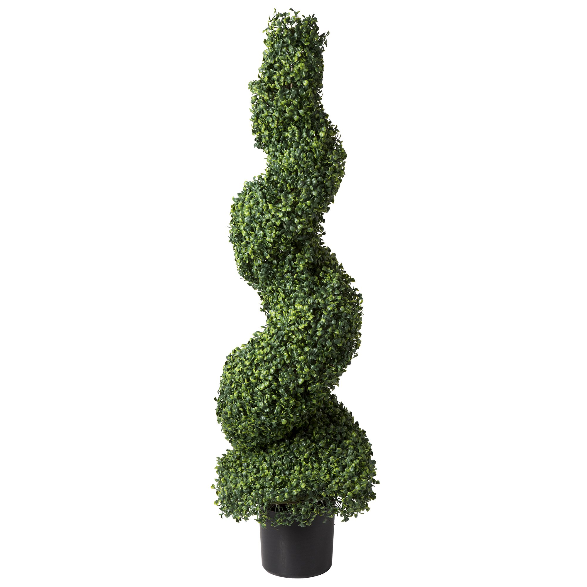 Artificial Boxwood Spiral Tree with Realistic Leaves, Beautiful Faux Plant for Indoor-Outdoor Home Décor-50-inch Topiary with Planter by Pure Garden by Pure Garden