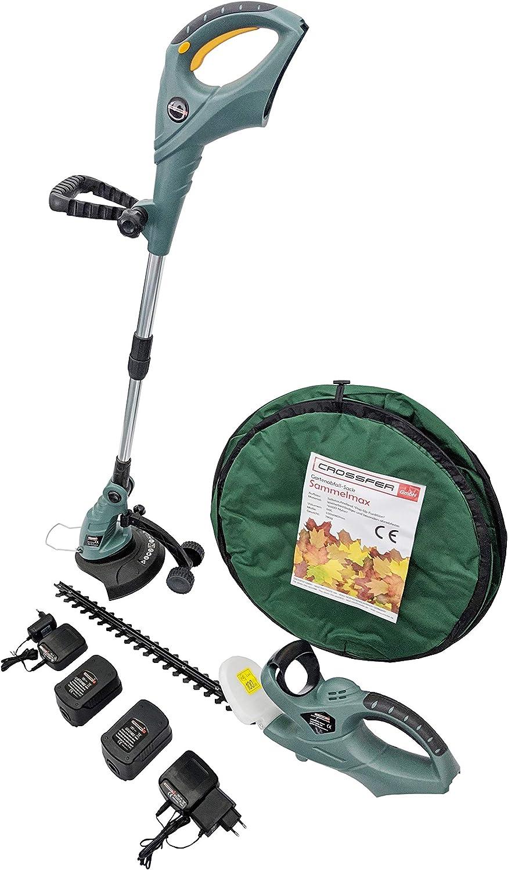 CROSSFER - Juego completo de cortasetos profesional para jardín, cortasetos con batería de 18 V, 2 baterías de 18 V, 2 cargadores de 18 V, incluye saco de basura de jardín de 110 L Pop-Up