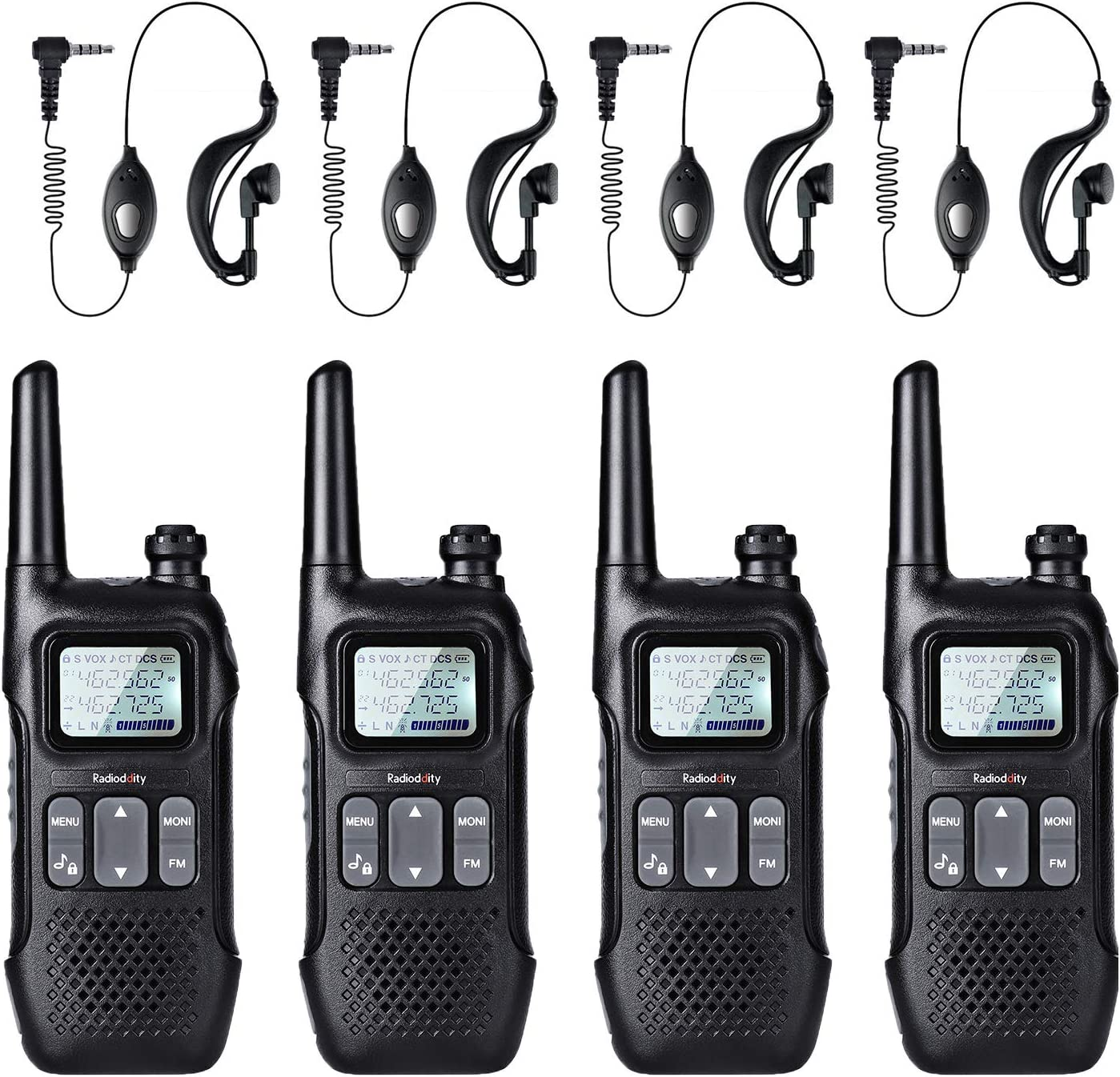 Radioddity FS-T1 FRS NOAA Two-Way Radio, Kids Walkie Talkies, 22 CH with FM, Earpiece, Flashlight, USB Charging, 4 Pack