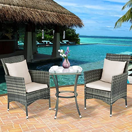 Amazon Tangkula 3PCS Patio Furniture Outdoor Wicker Table and