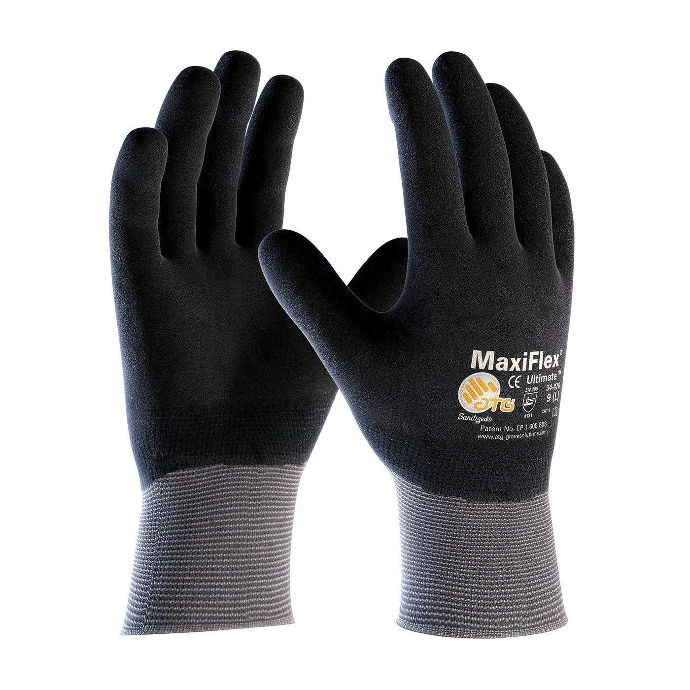 MaxiFlex Ultimate 34-876/L Seamless Knit Nylon/Lycra Glove with Nitrile Coated Micro-Foam Grip on Full Hand - 12 pairs