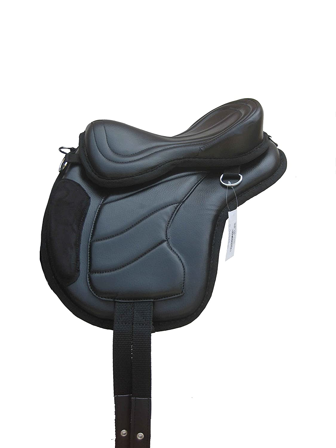 TintPets 13 TOP QUALITY BRANDED SYNTHETIC HORSE TREELESS SADDLE IN BLACK COLOR, FREE GIRTH