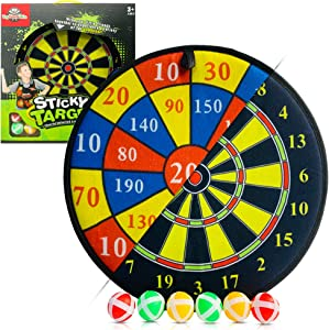 Kids Dart Board Game - Double Sided Velcro Dart Board 14.37 inches with 6 Sticky Balls 1.37 inches - Safe for Kids - Dart Game - Home Games - Outdoor Dart Board - Fun Family Games for Boys & Girls - Gift for 3 Year Old & Up