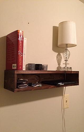 Floating Bedside Table, Rustic Nightstand, Barn Wood Style Bedside Table,  Wall Shelf,