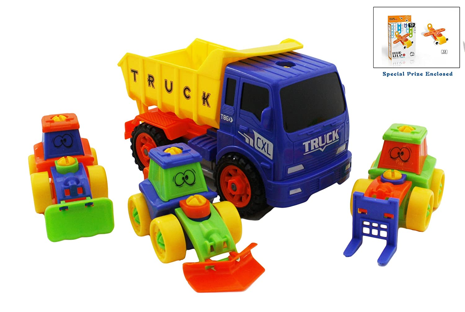 Fun Building Multifunctional Take-A-Part Kids Tractor Construction Dump Truck With 3 Mini Bulldozers Included, Wheel Loaders and Excavator Free-Wheeling Vehicle, Sand Box   B01MD1BNBZ