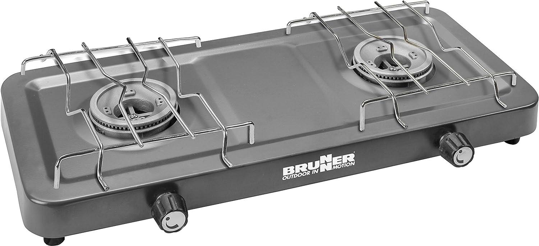Brunner Brunner Magma - Hornillo de gas portátil, 2 fuegos, presión de 30 Mbar, 0708050N