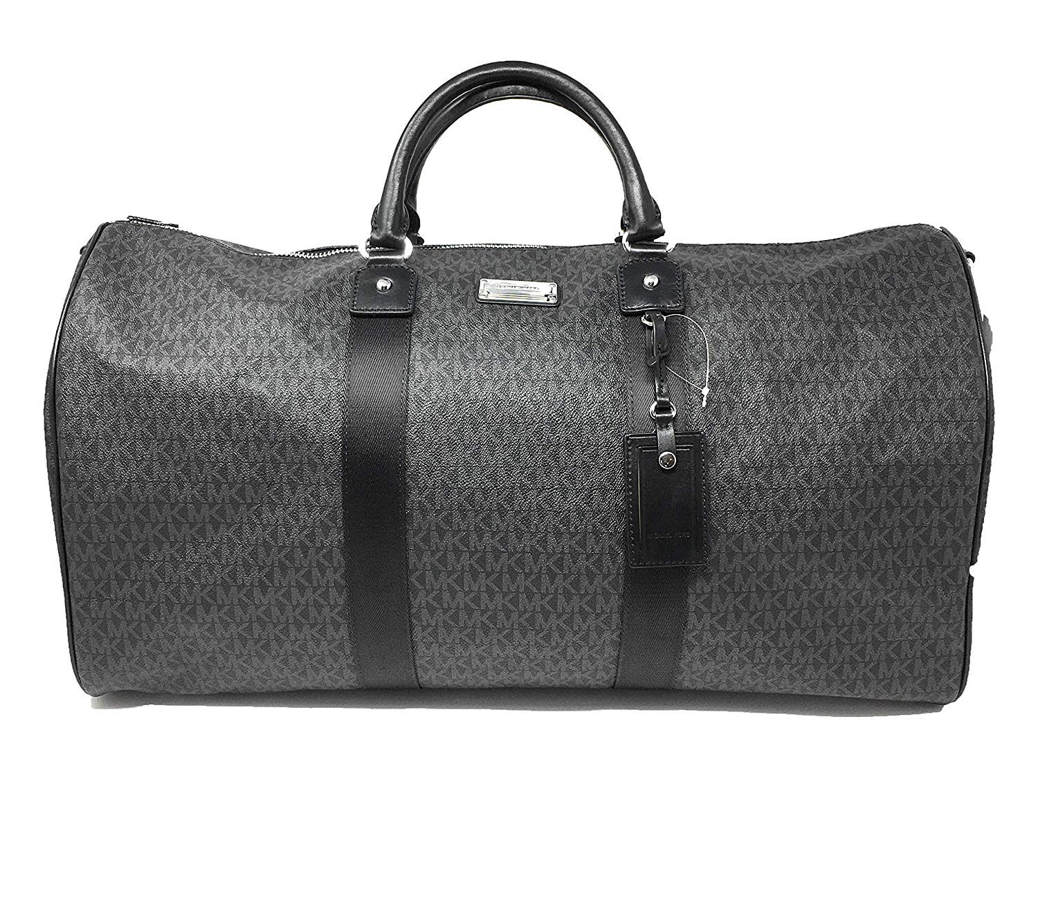 3af7ab11ddd5fd Amazon.com | Michael Kors Leather PVC Travel Logo Duffle Large Bag Printed  Duffel Luggage Black | Travel Duffels