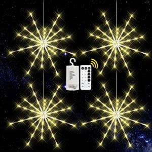 KIKILIVE Hanging Firework Lights 4 Pack, LED Starburst Lights, Christmas Decorative Hanging Lights with Remote, Battery Powered Waterproof Firework Fairy String Lights for Party Home Decoration