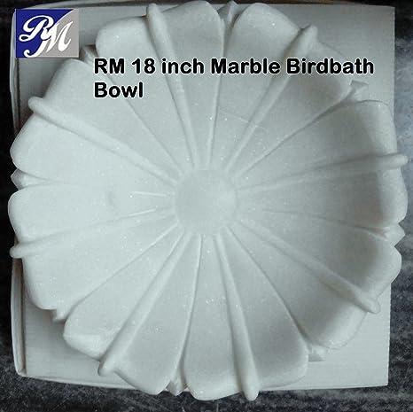 RM 18inch Unpolished Marble Bowl Pot Tray Bird Bath Garden Home D�coration