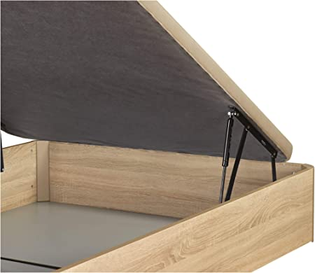 DHOME Canape Abatible Tapizado 3D 4 válvulas Maxima Calidad Esquinas canapé Madera (135x190 Roble, 22mm)