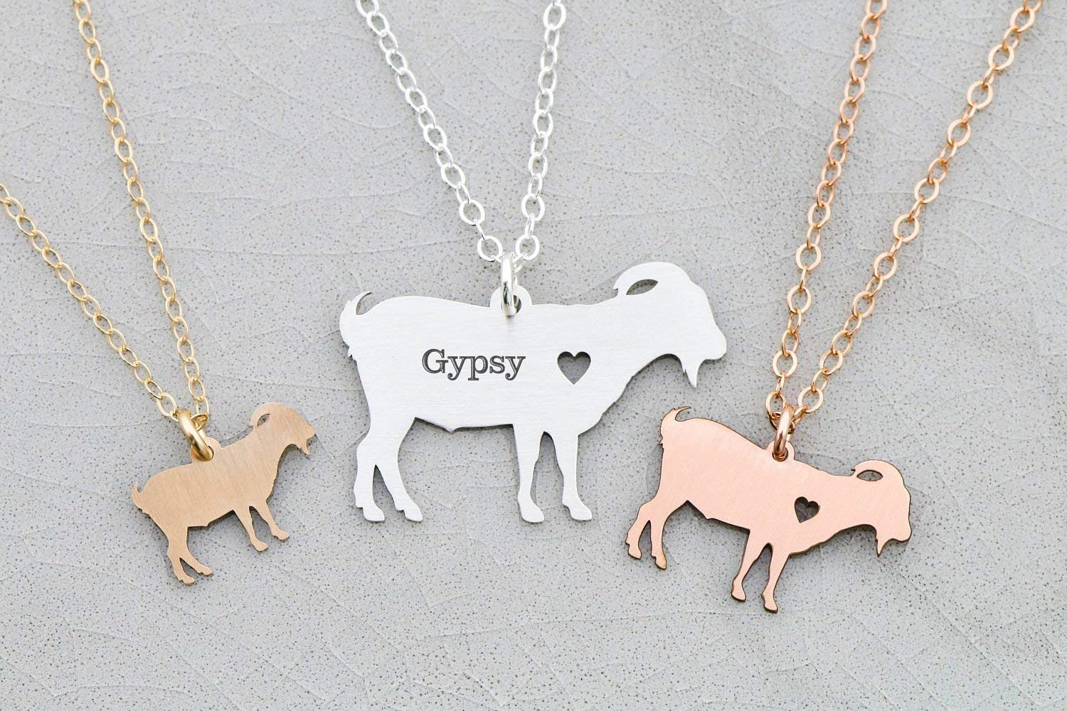 Goat Necklace - Billy Pygmy - IBD - Personalize with Name or Date - Choose Chain Length - Pendant Size Options - 935 Sterling Silver 14K Rose Gold Filled - Ships in 1 Business Day