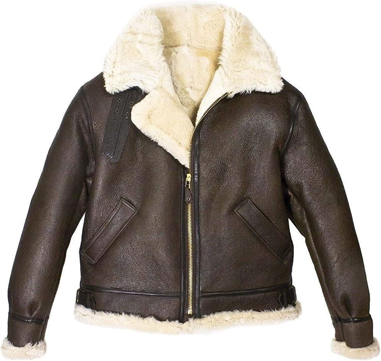 Mens B3 Bomber Jacket Shearling Fur Sheepskin Leather WWII Pilot Aviator Brown