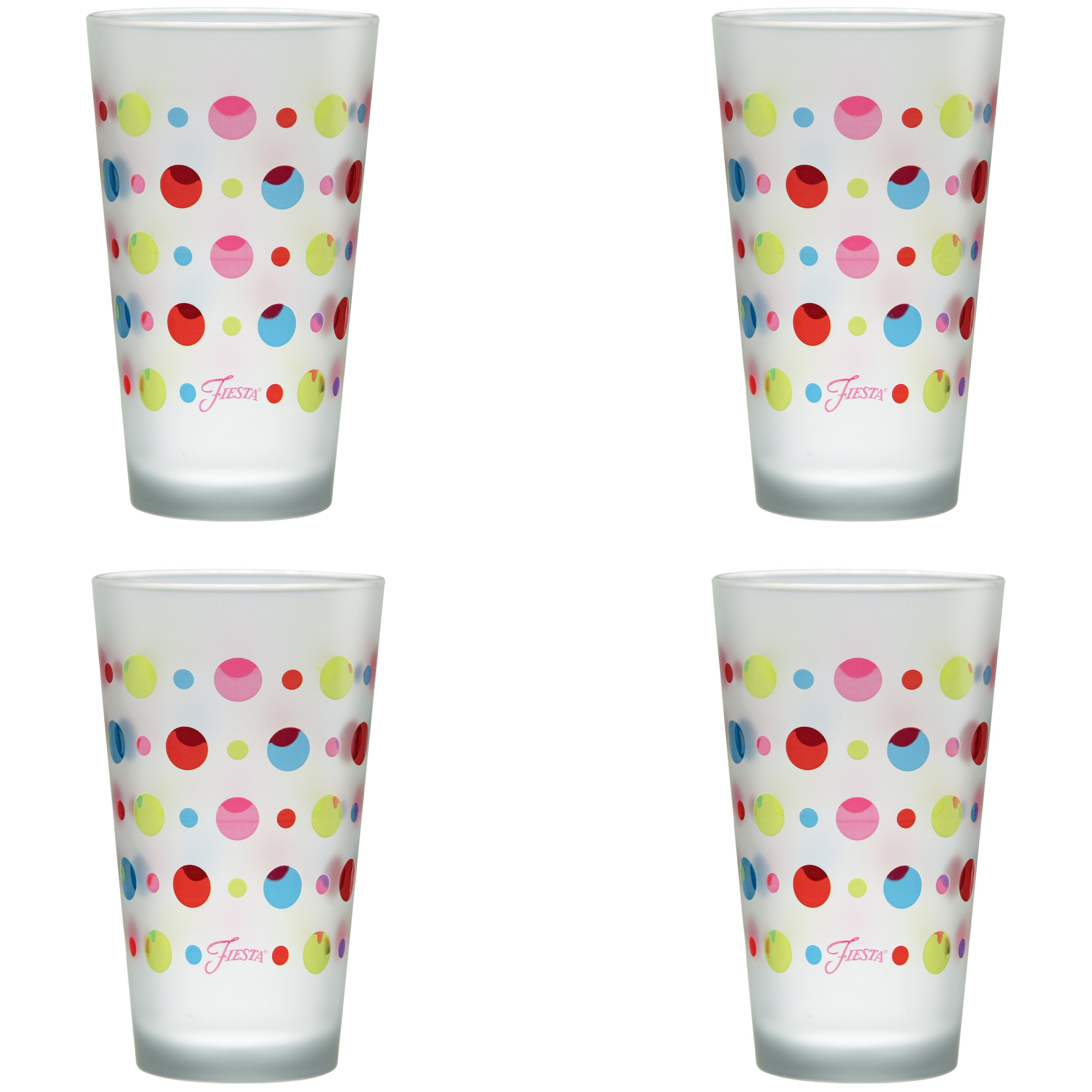 Officially Licensed Fiesta Multicolor Dots 16-Ounce Frosted Tapered Cooler Glass Set of 4