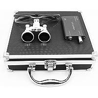 Hot Dental – Loupe binoculaire avec lampe frontale LED, grossissement 3,5x, distance de travail chirurgical 420 mm, avec boîte en aluminium
