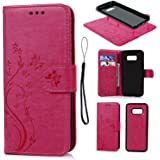 S8 Case Cover, Galaxy S8 Case Wallet Embossed Butterfly Florals PU Leather Flip Case Detachable TPU Cover Magnetic Wallet with Card Slots & Wrist Strap Case for Samsung Galaxy S8 - Hot Pink