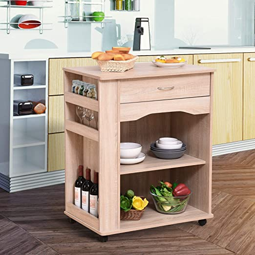 Godyluck Carrito de cocina para horno microondas con cajón ...