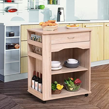 Godyluck Carrito de cocina para horno microondas con cajón de ...