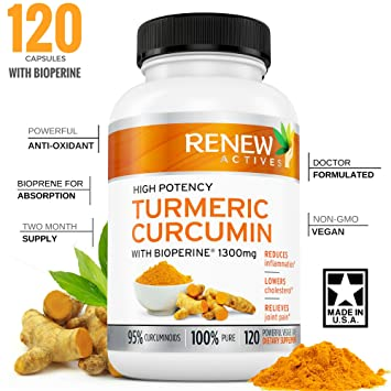 DOUBLE STRENGTH TURMERIC + BLACK PEPPER Capsules! 2 Month Supply! 1300mg!  Non-