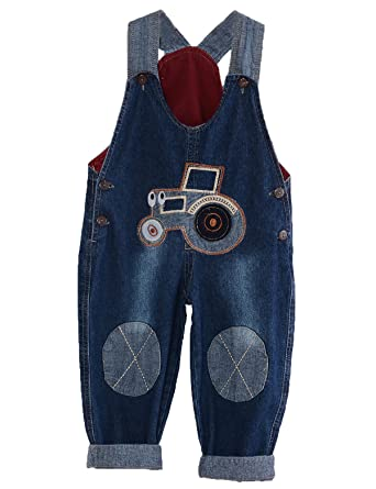 cff706ddcdb MG Kids Unisex Baby Roll Up Jumpsuit Dungarees Tractor Cartoon Boys Girls  Jumpsuit Denim Toddler Jeans  Amazon.co.uk  Clothing