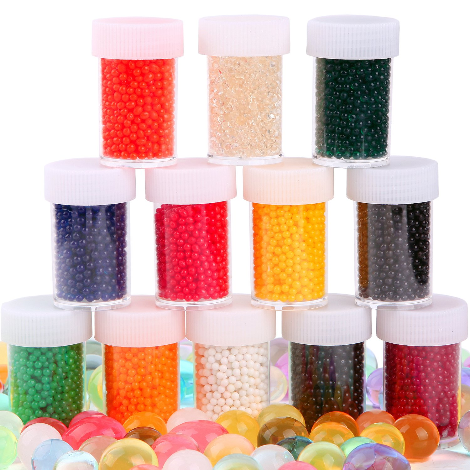 AINOLWAY 12 Pack Combo Water Beads Decoration Vase Filler Water Beads Gel 12 Colors Non Toxic Water Sensory Toy for Kids 20 000 Beads