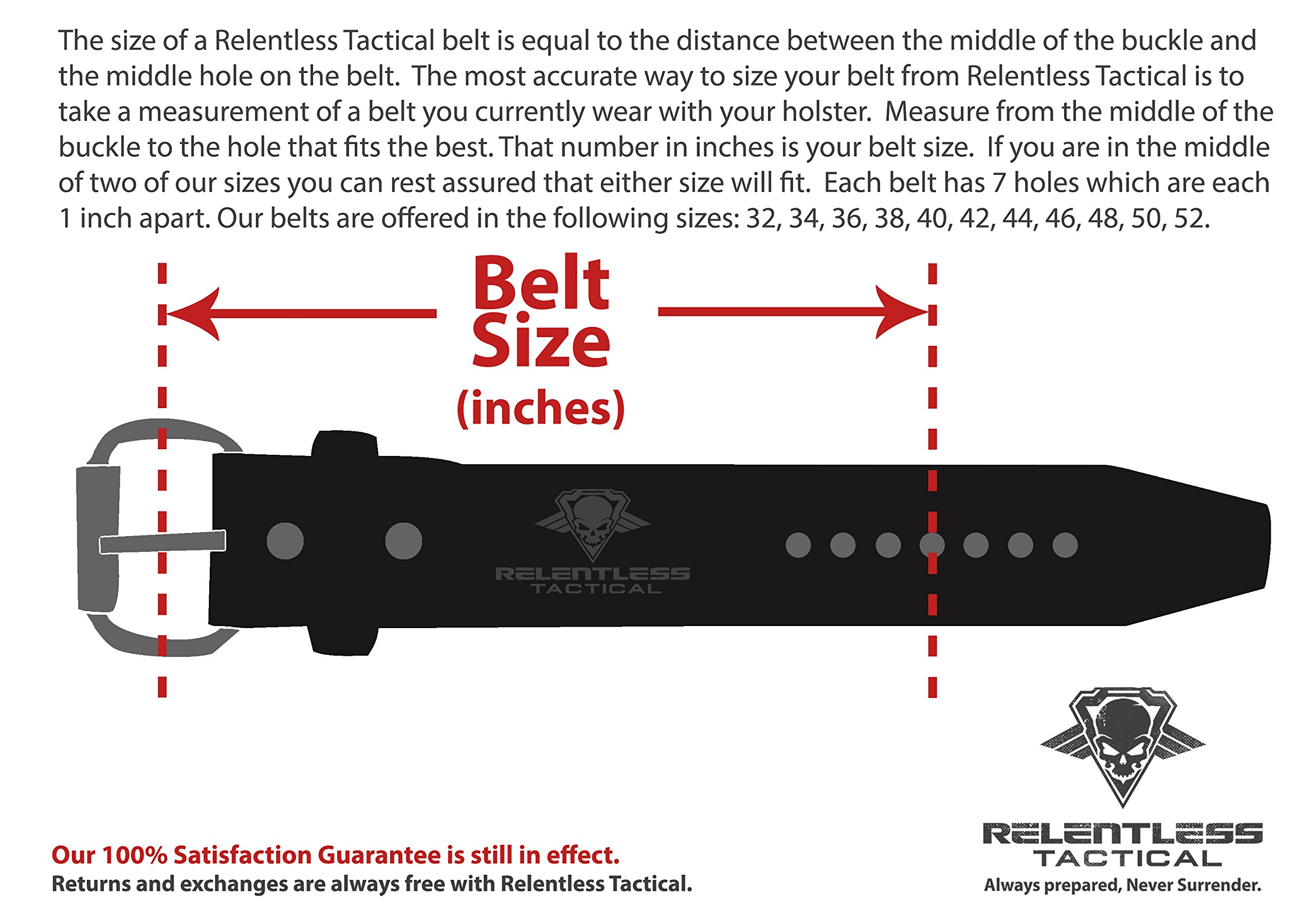Relentless Tactical The Ultimate Concealed Carry CCW Leather Gun Belt - Basket Weave Pattern -1 1/2 inch Premium Full Grain Leather Belt - Handmade in The USA! Black Size 34 by Relentless Tactical (Image #6)