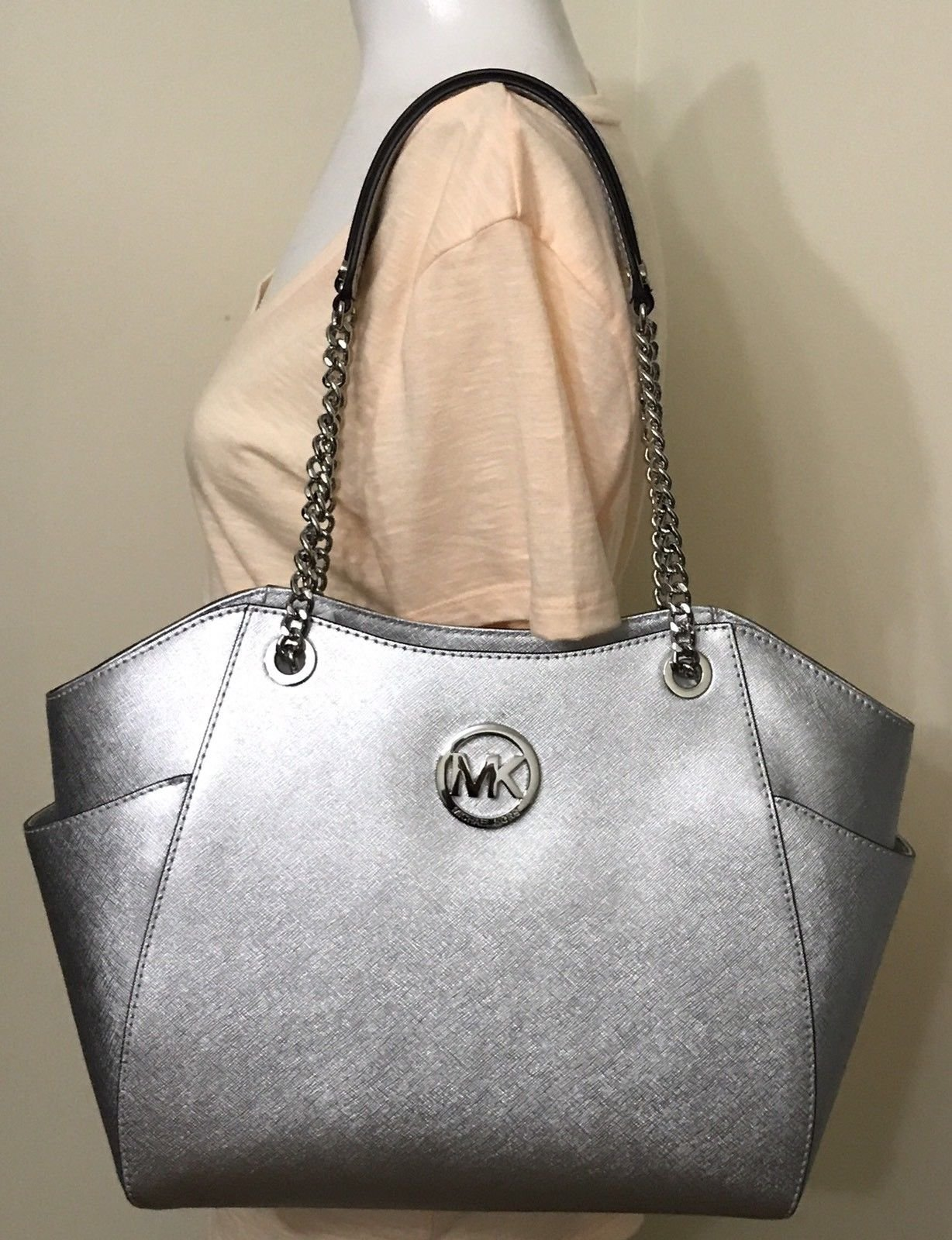 MICHAEL Michael Kors Women's Jet Set Travel Saffiano Large Chain Shoulder Tote, Style 35T5GTVT3L (silver)