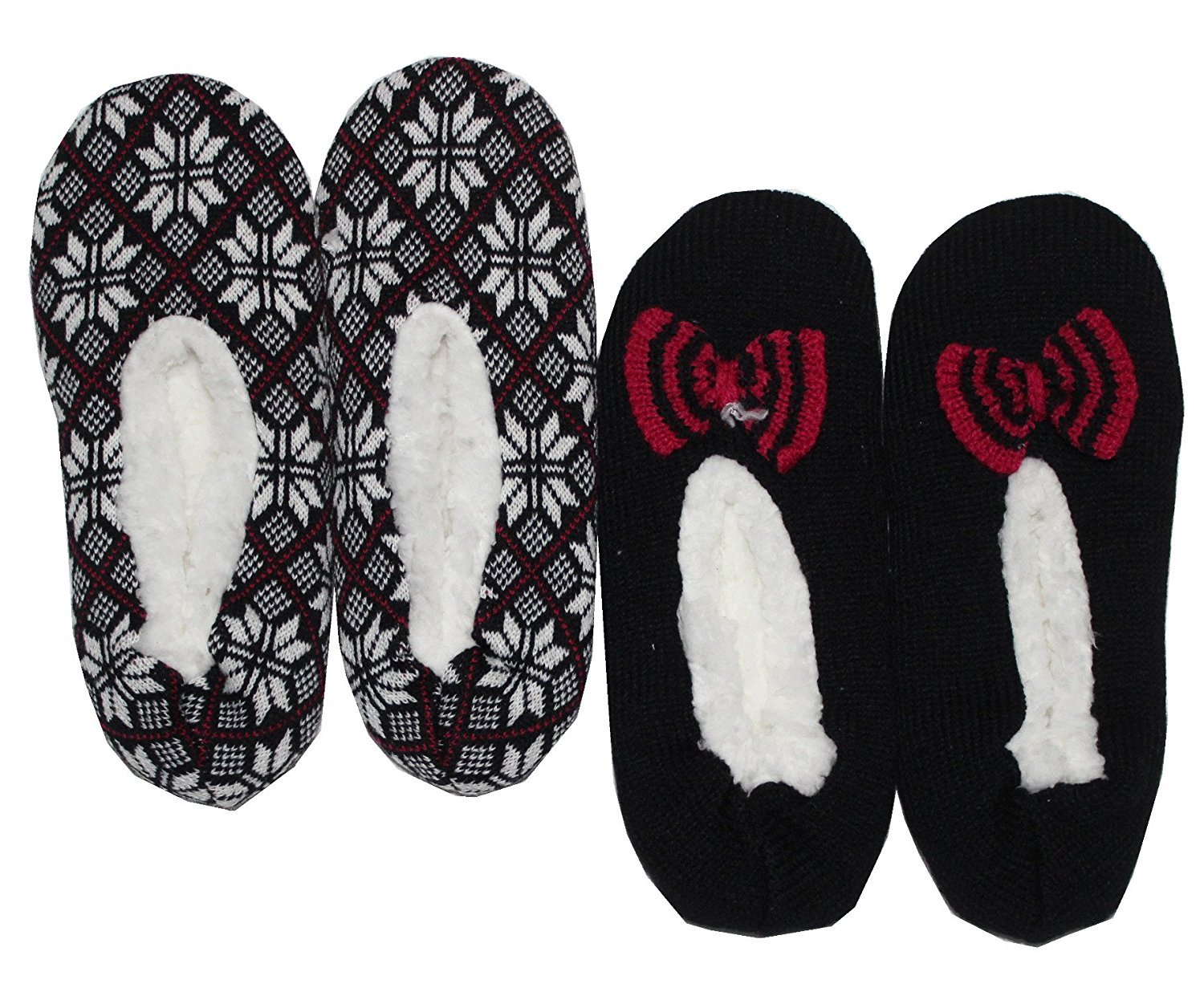 K. Bell Sherpa Slipper Socks 2 Pack Blk/Red) 00_WTASEGBD_SD