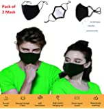 3 Layer Cotton Black Mask Washable, Breathable, Lightweight & Reusable Cover For Adult, Men & Women, Flexible Fit dust…