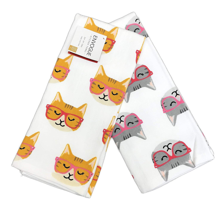 ENVOGUE Orange /& Grey Cats Wearing Red /& Pink Eyeglasses Set of Two Decorative Novelty Kitchen Hand Towels 18 x 28