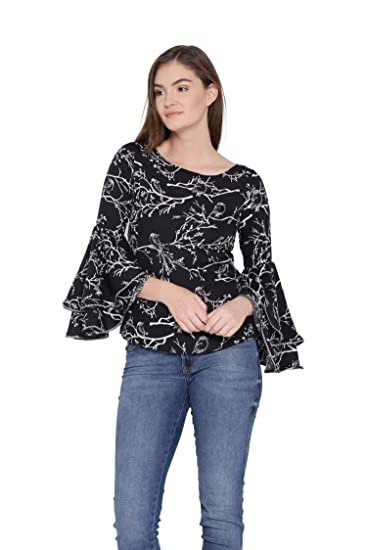 43ed142dfa7489 MsFQ Women s Black Printed Layered Sleeve top by The Vanca  Amazon.in   Clothing   Accessories