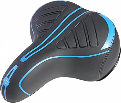 Comfortable Bicycle Seat Dual Shock Absorbing Synthetic Leather Bike Gel Saddle