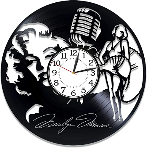 Kovides Marilyn Monroe Vinyl Clock 12 Inch Actress Birthday Gift Idea Marilyn Monroe Vinyl Record Wall Clock Blonde Bombshell Handmade Clock