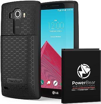 PowerBear Batería Extendida Compatible para LG G4 [6.500mAh], Cubierta Trasera y Carcasa Protectora (Hasta 2.15X de Potencia de Batería Adicional) - ...
